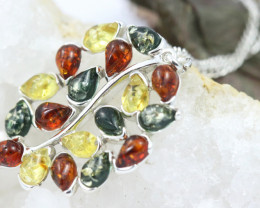 Natural Baltic Amber Sterling Silver Pendant code GI 1297