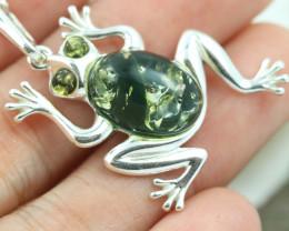 Natural Green Baltic Amber Sterling Silver Pendant code GI 1319