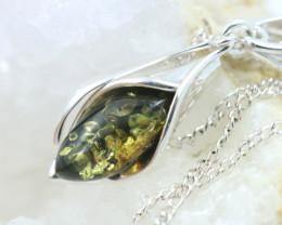Natural Green Baltic Amber Sterling Silver Pendant code GI 1323