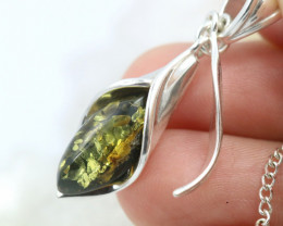 Natural Green Baltic Amber Sterling Silver Pendant code GI 1324