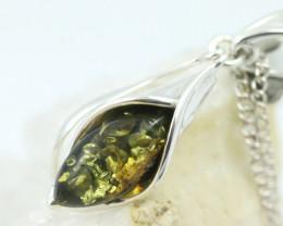 Natural Green Baltic Amber Sterling Silver Pendant code GI 1325