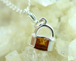 Natural Baltic Amber Sterling Silver Charm code GI 1350