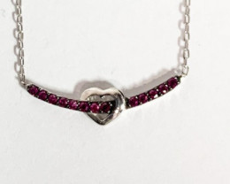 Heart Style Pink Stone Sterling Silver 925 Necklace