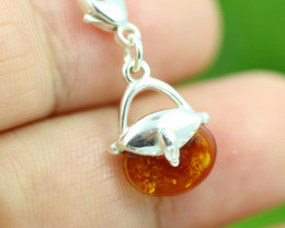 Natural Baltic Amber Sterling Silver Charm code GI 1358