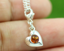 Natural Baltic Amber Sterling Silver Charm code GI 1367