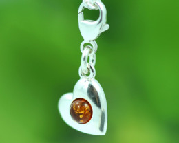Natural Baltic Amber Sterling Silver Charm code GI 1368