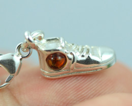 Natural Baltic Amber Sterling Silver Charm code GI 1374