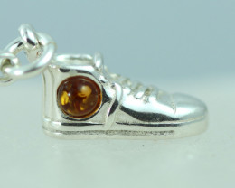 Natural Baltic Amber Sterling Silver Charm code GI 1375