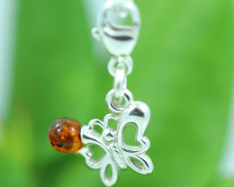 Natural Baltic Amber Sterling Silver Charm code GI 1382