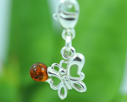 Natural Baltic Amber Sterling Silver Charm code GI 1385