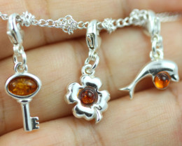 Natural Baltic Amber Sterling Silver Charm (set of 3) code GI 1388