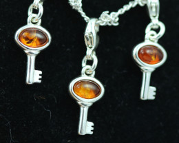 Natural Baltic Amber Sterling Silver Charm (set of 3) code GI 1389