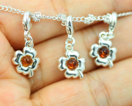 Natural Baltic Amber Sterling Silver Charm (set of 3) code GI 1391