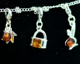 Natural Baltic Amber Sterling Silver Charm (set of 3) code GI 1394
