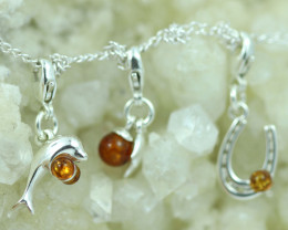 Natural Baltic Amber Sterling Silver Charm (set of 3) code GI 1403