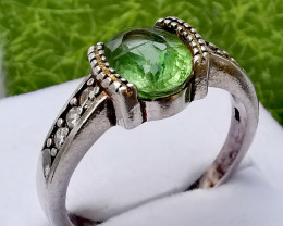 22ct Natural Apatite In 925 Sterling  Silver Ring.