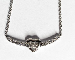 Heart Style White Stone Sterling Silver 925 Necklace
