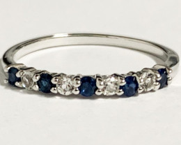 Stylish Natural Blue Sapphire And Topaz Ring  Silver