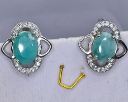 26.39 Crt Natural Emerald 925 Sterling Silver Earrings