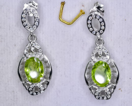 15.32 Crt Natural Peridot 925 Sterling Silver Earrings