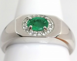 Gents Emerald and Zircon Ring 0.85tcw.