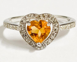 Modern Heart-in-Heart Style Citrine Sterling Silver 925 Ring