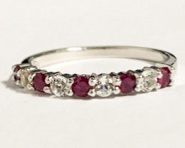 Stylish Natural Red Ruby And Topaz Ring Silver