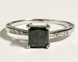 Natural Black Diamond 0.90 Cts And Topaz Ring ~ Silver