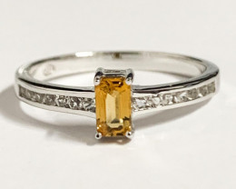 Natural Citrine And Topaz Ring ~ Silver