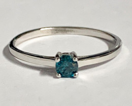 Stylish Natural Blue Diamond Ring ~ Silver