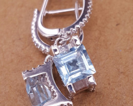 Natural Topaz and CZ Earrings