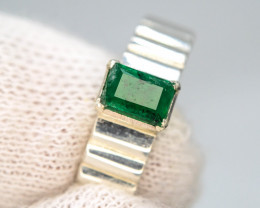 29.60 Ct Silver Ring ~With AAA Clarity Swat Emerald ~Ring
