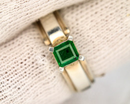 38.0 Ct Silver Ring ~With AAA Clarity Swat Emerald ~Ring
