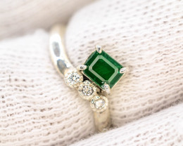 10.70 Ct Silver Ring ~With AAA Clarity Swat Emerald  Stone ~Ring
