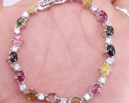 Natural Cabochon Tourmaline  and CZ Bracelet