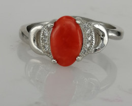 Natural Corel Ring with CZ.