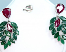 Natural 6.57Carat Top Emerald,Glass filled ruby 925 Silver Earrings