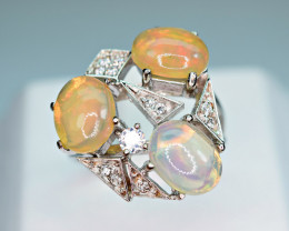 Natural Special Multi Fire Top Opal Cabochon,CZ 925 Silver Ring
