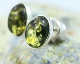 Natural Green Baltic Amber Earrings   code GI 1620