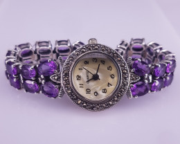 Natural Amethyst Watch With Marcasite