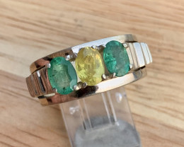 Natural Emerald and yellow sapphire Ring.