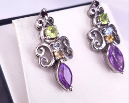 NAtural Topaz With Peridot And Citin,Amethyst Earrings