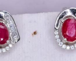 24.31 Crt Natural Ruby 925 Silver Earrings