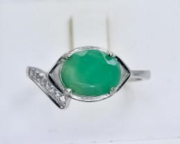 12.55 Crt Natural Emerald 925 Silver Ring