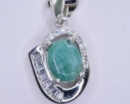 15.27 Crt Natural Emerald 925 Silver Pendant