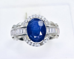25.08 Crt Natural Sapphire 925 Silver Ring