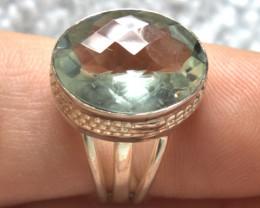 29.0 Tcw. Prasiolite / Sterling Silver Ring - Beautiful