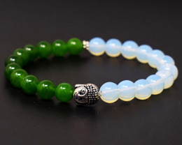 Opalite & Jade  Beads Stretchable Bracelet