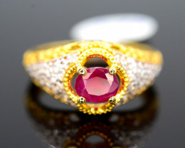 Unique Design 15.30 Ct Silver Ring ~ With 1 Ct Ruby ~ Gold Plated