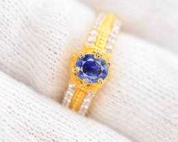 Unique Design 18.80 Ct Silver Ring ~ With 1 Ct Sapphire ~ Gold Plated